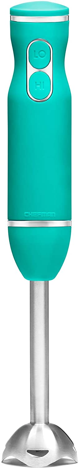 Chefman Immersion Stick Hand Blender with Stainless Steel Blades, Powerful Electric Ice Crushing 2-Speed Control Handheld Food Mixer, Purees, Smoothies, Shakes, Sauces & Soups, Turquoise