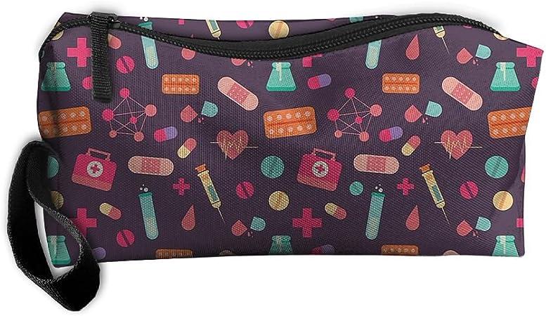 Nueva bolsa de aseo de enfermera médico medicina bolsa estuche neceser bolsa organizador de maquillaje bolsa de embrague con cremallera para la vida cotidiana, viajes y más: Amazon.es: Hogar