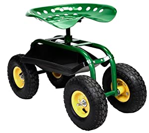 Rolling Garden Cart Work Seat With Heavy Duty Tool Tray Gardening Planting Green