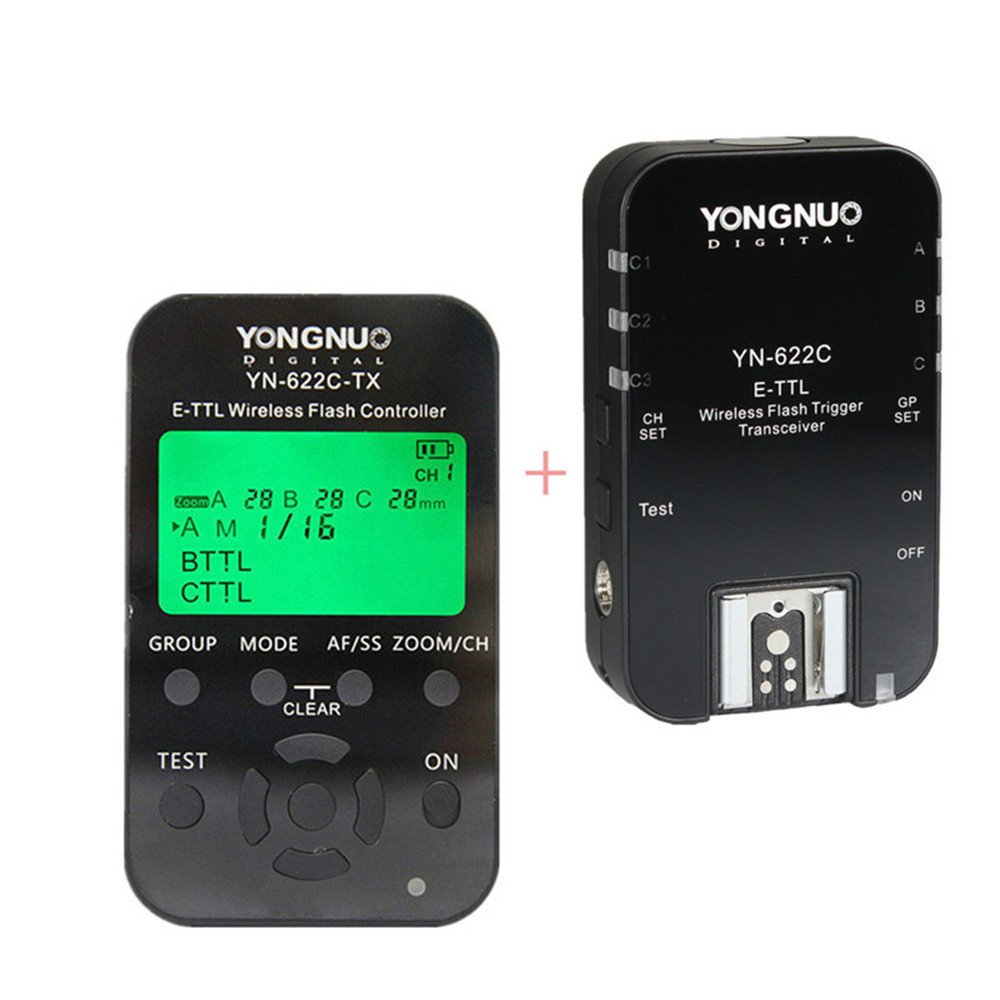 YONGNUO YN622C-KIT Wireless E-TTL Flash Trigger Kit with LED Screen for Canon Including 1X YN622C-TX Controller and 1X YN622 C Transceiver by YONGNUO