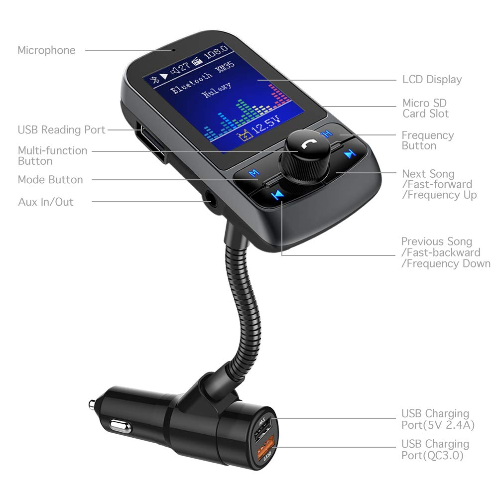 Handsfree Calls FM Transmitter AUX USB Flash Drive Nulaxy 1.8 Color Screen Bluetooth FM Transmitter Radio Adapter with QC3.0 Quick Charge Supports Car Battery Voltage Monitoring microSD Card
