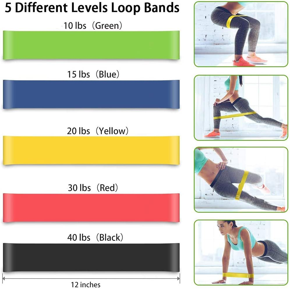 Home Gym Equipment Workout With Fitness Tubes Foam Handles Elastic Pull Rope Tummy Stretching For Men Wome YOULERBU Exercise Resistance Bands With Fitness Exercise Loop Bands Set of 17