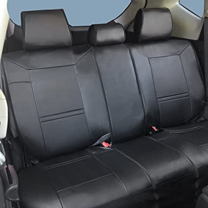 Amazon Com Sh255 Black Pu Leather Rear Semi Custom Car Seat Covers