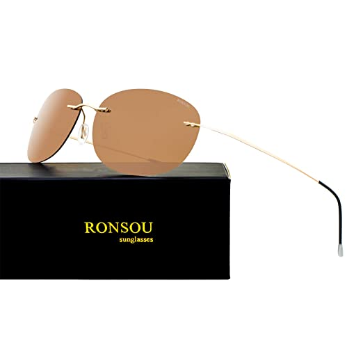 5e24493e1d9 Ronsou Ultra-light Rimless Pure Titanium Colorful Fashion Polarized  Sunglasses for Men and Women Golden