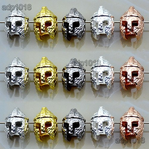 AD Beads Solid 10pcs Metal Lion, Sparta, Dragon, Wolf Bracelet Necklace Connector Charm Beads Silver Gold (9x14mm Sparta Helmet, Mixed Color)
