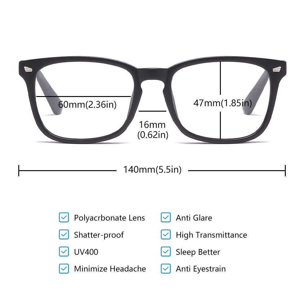 Computer,Gaming TV Phones Reading Glasses for Women Men LCEC Premium Blue Light Blocking Glasses Anti Eyestrain UV Filter Lens Lightweight Frame Eyeglasses,Matte Black