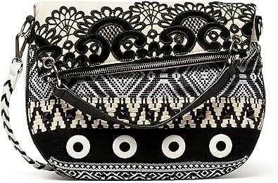Desigual Bols_Black White FOLDED - Bolso bandolera para mujer, color blanco
