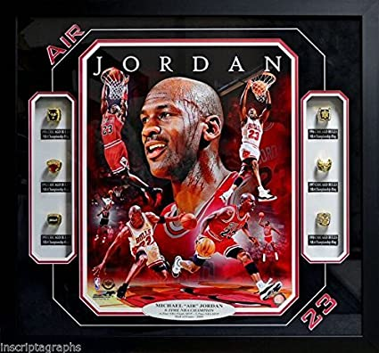 MICHAEL JORDAN 6 RING NBA CHAMPIONSHIP COLLAGE CHICAGO BULLS FRAMED AIR PIPPEN