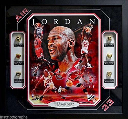 Bull Ring Shops (MICHAEL JORDAN 6 RING NBA CHAMPIONSHIP COLLAGE CHICAGO BULLS FRAMED AIR PIPPEN)