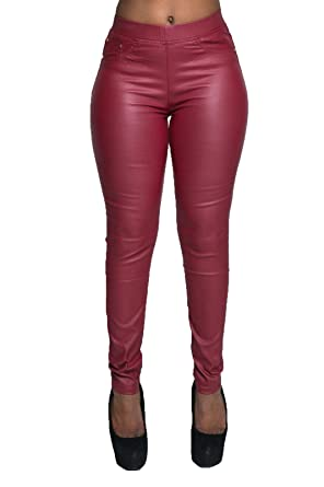 4e44405f90f1d1 Womens Plus Size Leather Look Leggings Wet Look Trousers Slim Fit UK Sizes  10-22