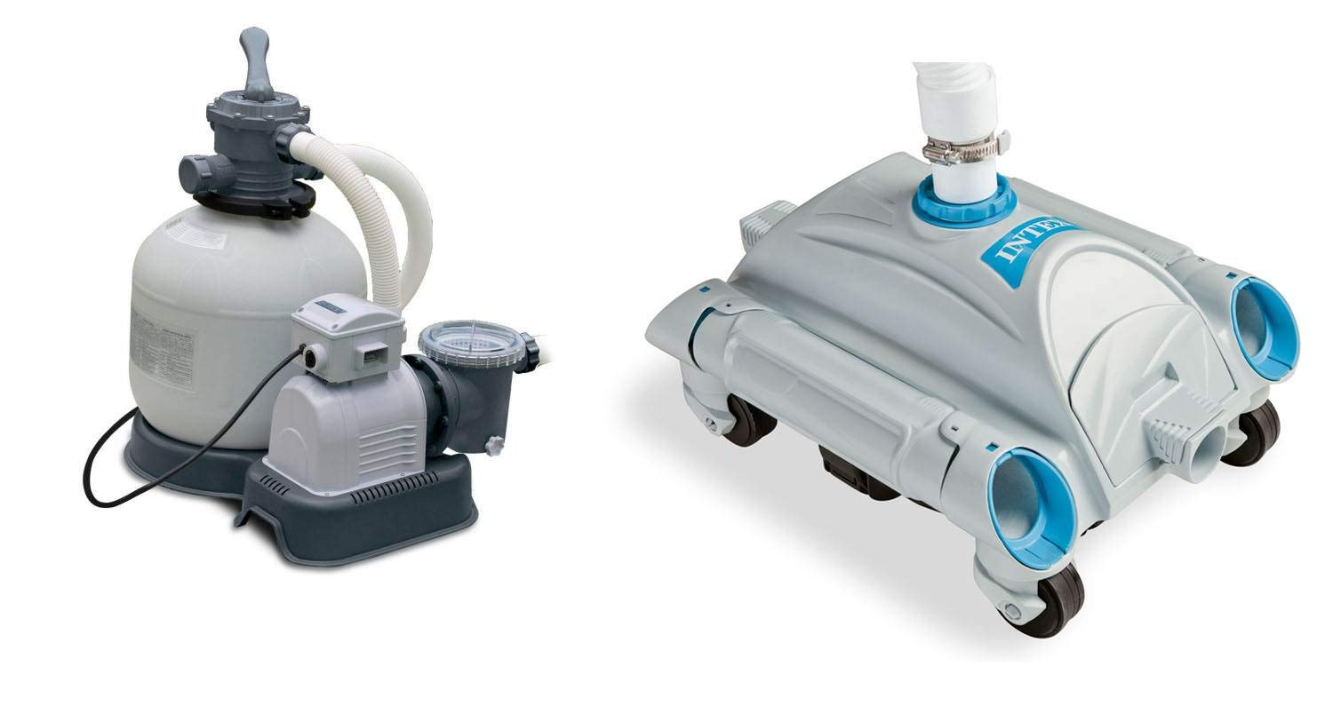 INTEX 3000 GPH Above Ground Pool Sand Filter Pump and INTEX Automatic Vacuum by Intex