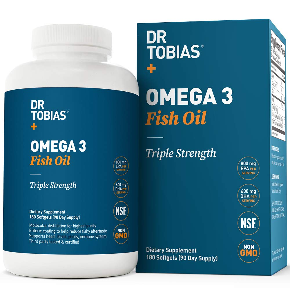 Dr Tobias Omega 3 Fish Oil Triple Strength, 2,000mg, Burpless, Non-GMO, NSF-Certified, 180 Counts