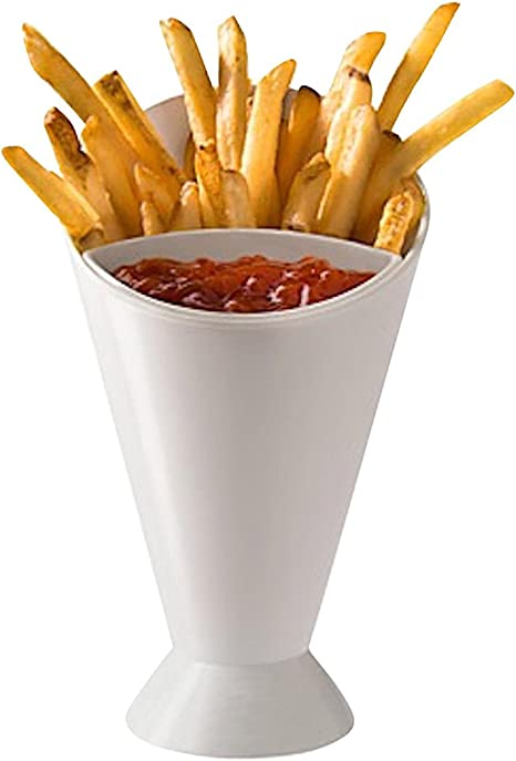 White JEE Reusable Fry and Snack Serving Bowls with Removable Dip Holder for French Fries//Food Stand with Sauce Dipping Cup