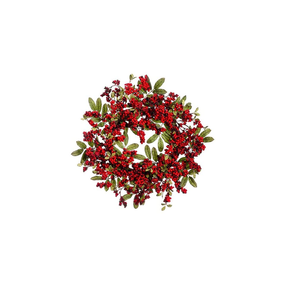 24 Vibrant Red Berry Cluster Artificial Christmas Wreath
