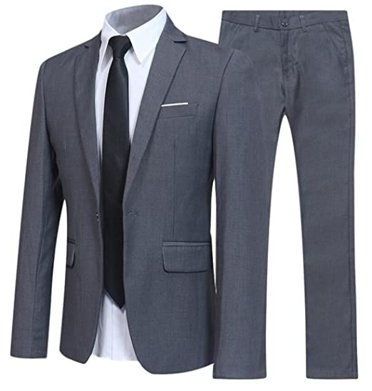 UUYUK-Men 2 Piece Suit Business Wedding Blazer Jacket ...