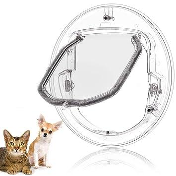 Puertas para Gatos, 4 Maneras de Bloquear la Puerta Redonda Transparente de Aleta para Gatos y Perros pequeños: Amazon.es: Productos para mascotas