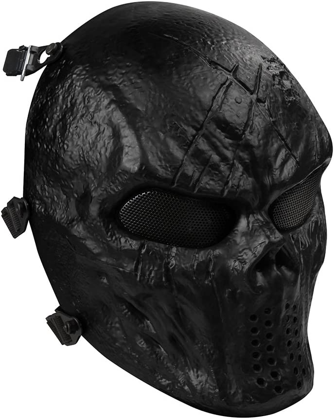OutdoorMaster Airsoft Mask - Full Face Mask with Mesh Eye Protection (Black) : Sports & Outdoors