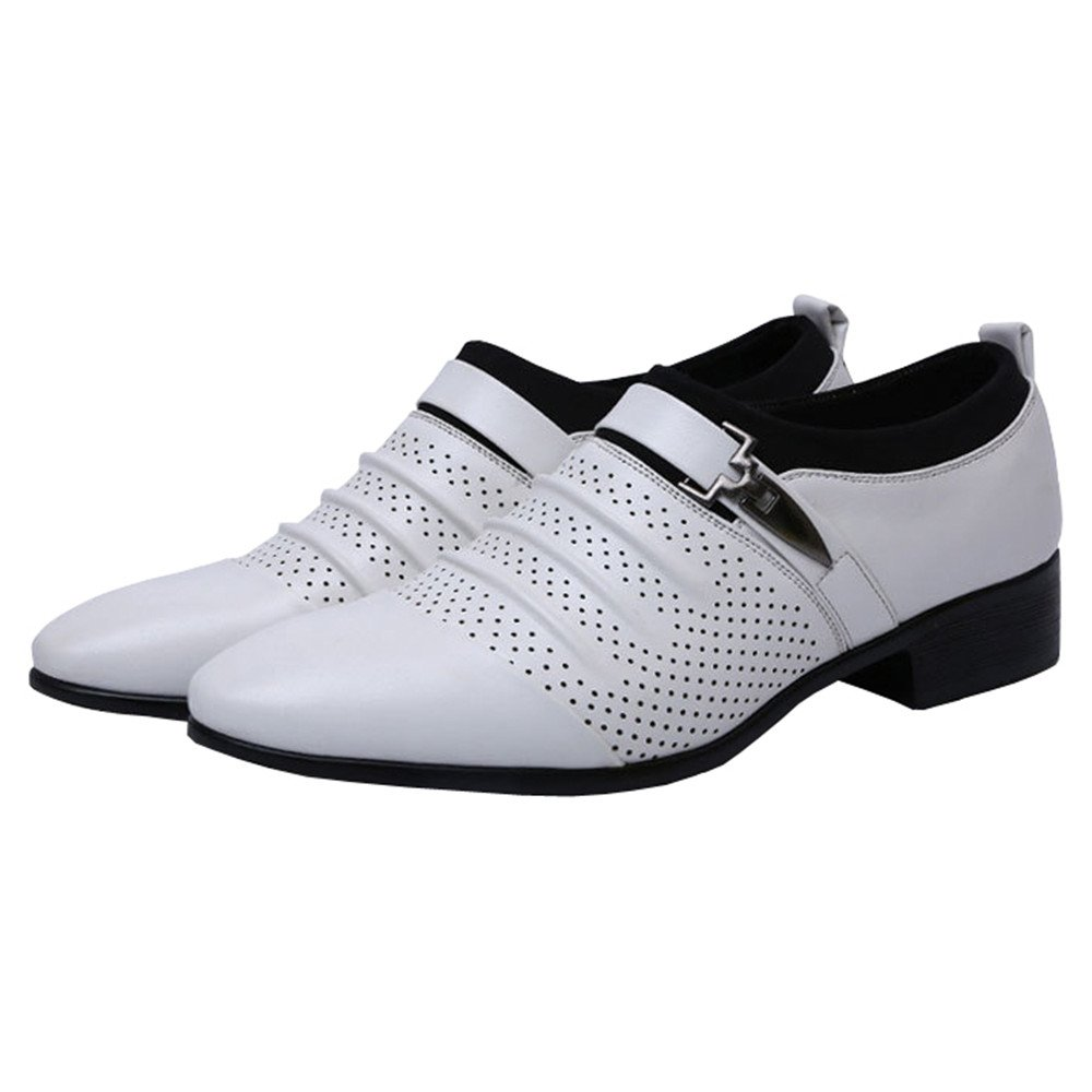 Mens Single Monk-Straps Punched Cap-Toe Oxfords Dress Formal Shoes Summer Slip On(13, White)