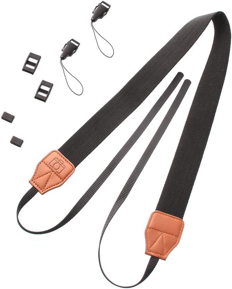 Vintage Belt for Sony Nikon Canon Pentax Olympus Leica All DSLR Cameras Runshuangyu Camera Shoulder Neck Strap Black and Orange