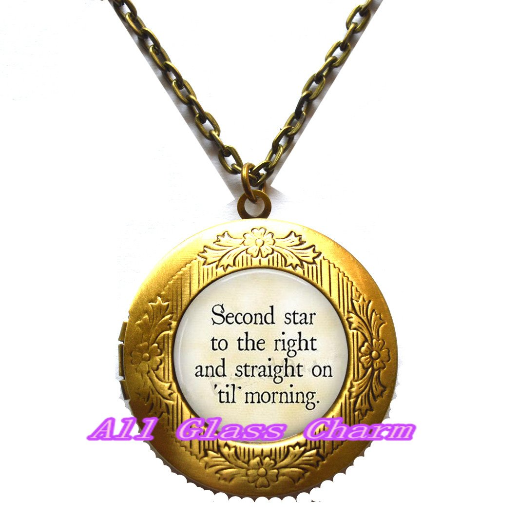 Beautiful Locket Necklace,Quote Second Star to the Right and Straight on Til Morning/,Quote Locket Pendant Quote Locket Necklace,AS0158
