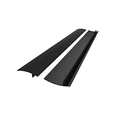 25 inches Silicone Stove Counter Gap Cover (Set of 2) by Kettio, Seals Out Spills Between Counters, Appliances, Dryers, Stoves, Washing Machines and More - Matte Black