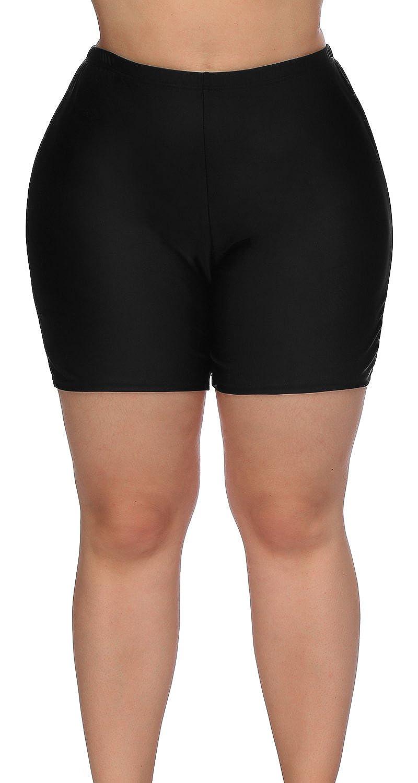e6f80b681a Amazon.com: Sociala Women's Plus Size Swim Shorts High Waisted Swimsuit  Bottoms Boardshorts: Clothing