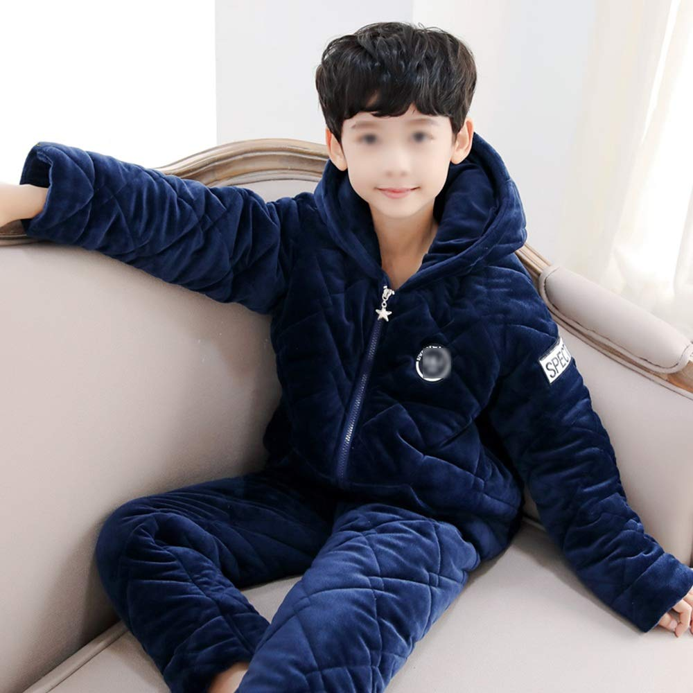 ZZHF shuiyi Pijamas, Boy Thicken Keep Warm Warm Keep Hooded Home Clothing Niño Cómodo Pijamas de algodón Loose Motion Ocio Home Hooded Traje de Dos Piezas, 4 Colores Opcionales camisón df8cc1