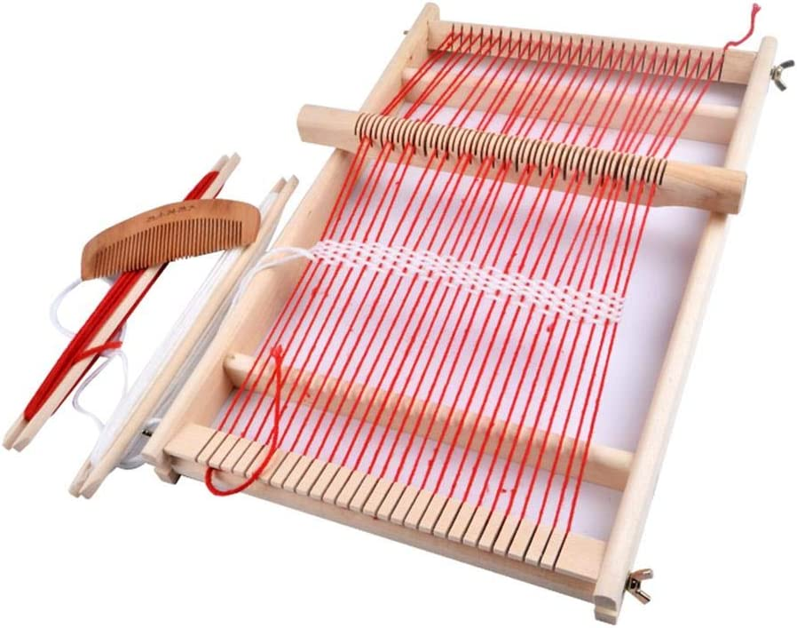 hinffinity Craft Wooden Weaving Loom DIY Suit Wooden Loom Traditional Wooden Warp Loom Kit Multifunction Lap Weaving Loom for Beginners and Children