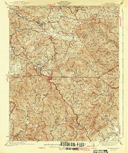 YellowMaps Blowing Rock NC topo map, 1:62500 Scale, 15 X 15 Minute, Historical, 1942, 19.8 x 16.5 in - Polypropylene (Map Of Boone And Blowing Rock Nc)