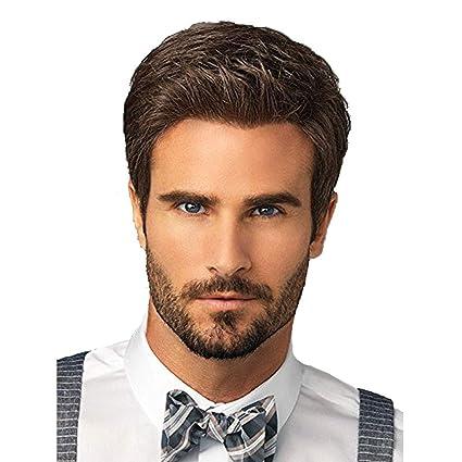 Peluca, moda peluca de alta calidad esponjosa natural marrón de los hombres.