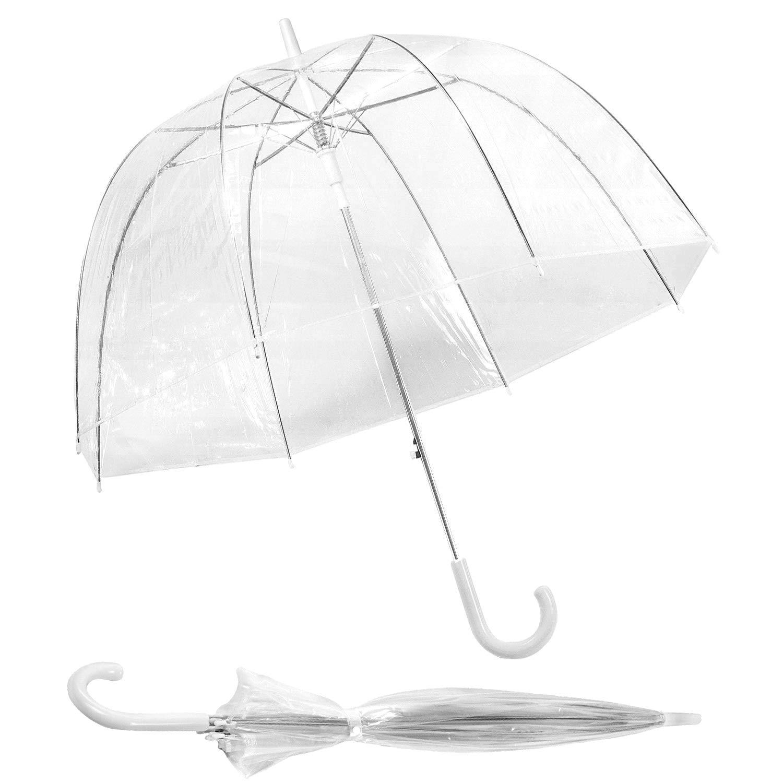 Durchsichtiger Regenschirm Transparenter Kuppelschirm Hochzeit Größe Ø 90 cm / 135 cm Eleganter Stabiler Automatik Weiß Glockenschirm Glockenregenschirm Groß XXL Partnerschirm/Zwei Personen