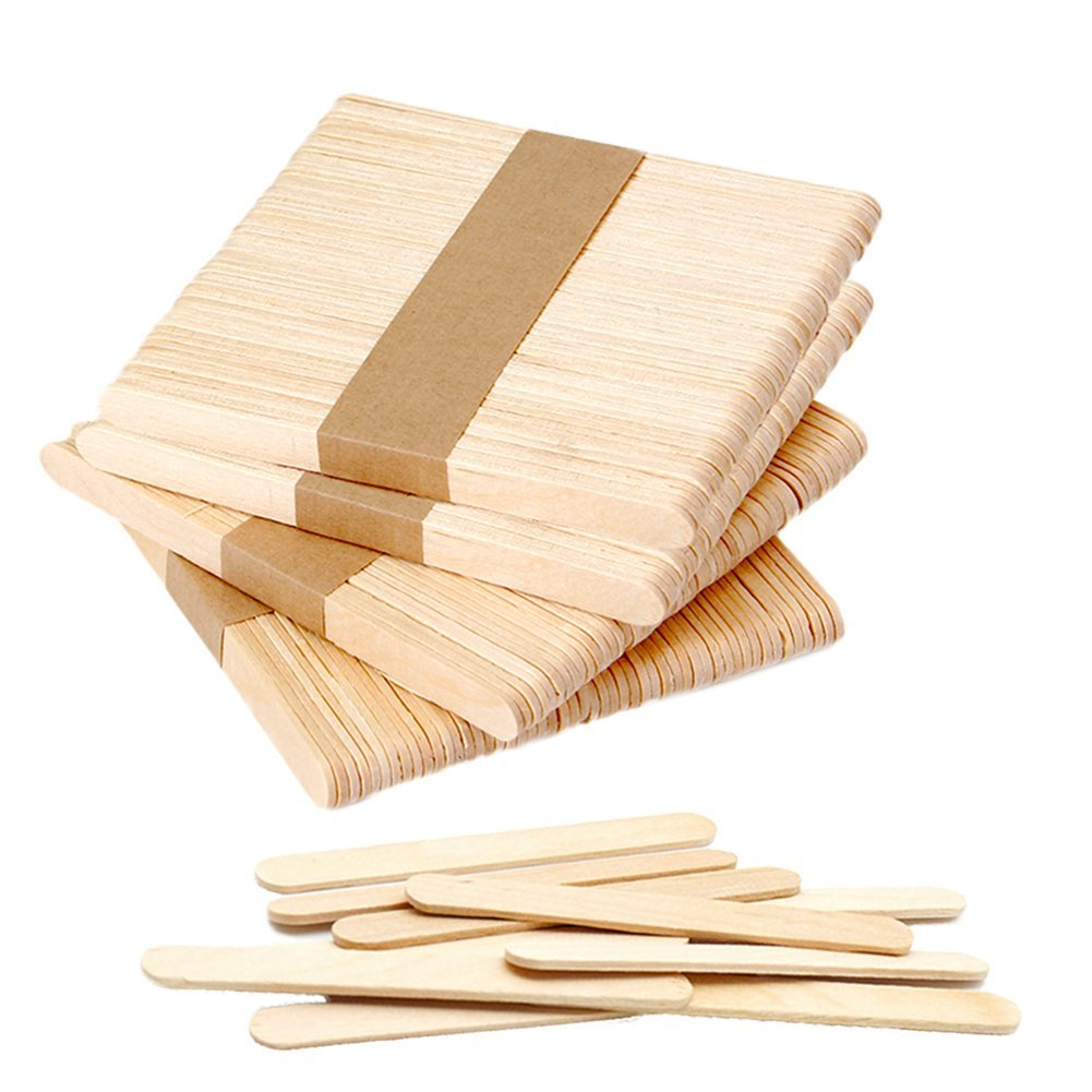 200 PCS Craft Sticks Popsicle Ice Pop Ice Cream Sticks Natural Wooden 4-1/2 Length Treat Sticks Jumbo Great for DIY Craft Creative Designs Dshengoo