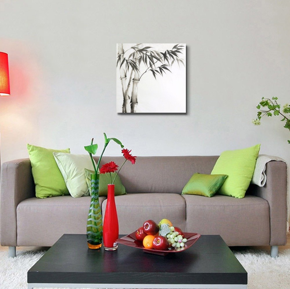Chinese Bamboo Painting On A Plain White Background Wall Decor Ation