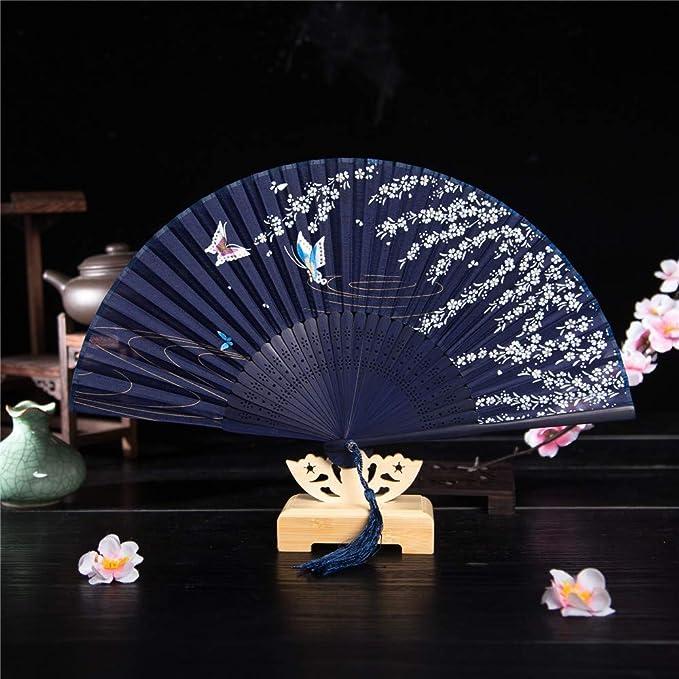 Selou Ventaglio pieghevole in seta da donna Ventaglio giapponese in bamb/ù e ventaglio giapponese in bamb/ù