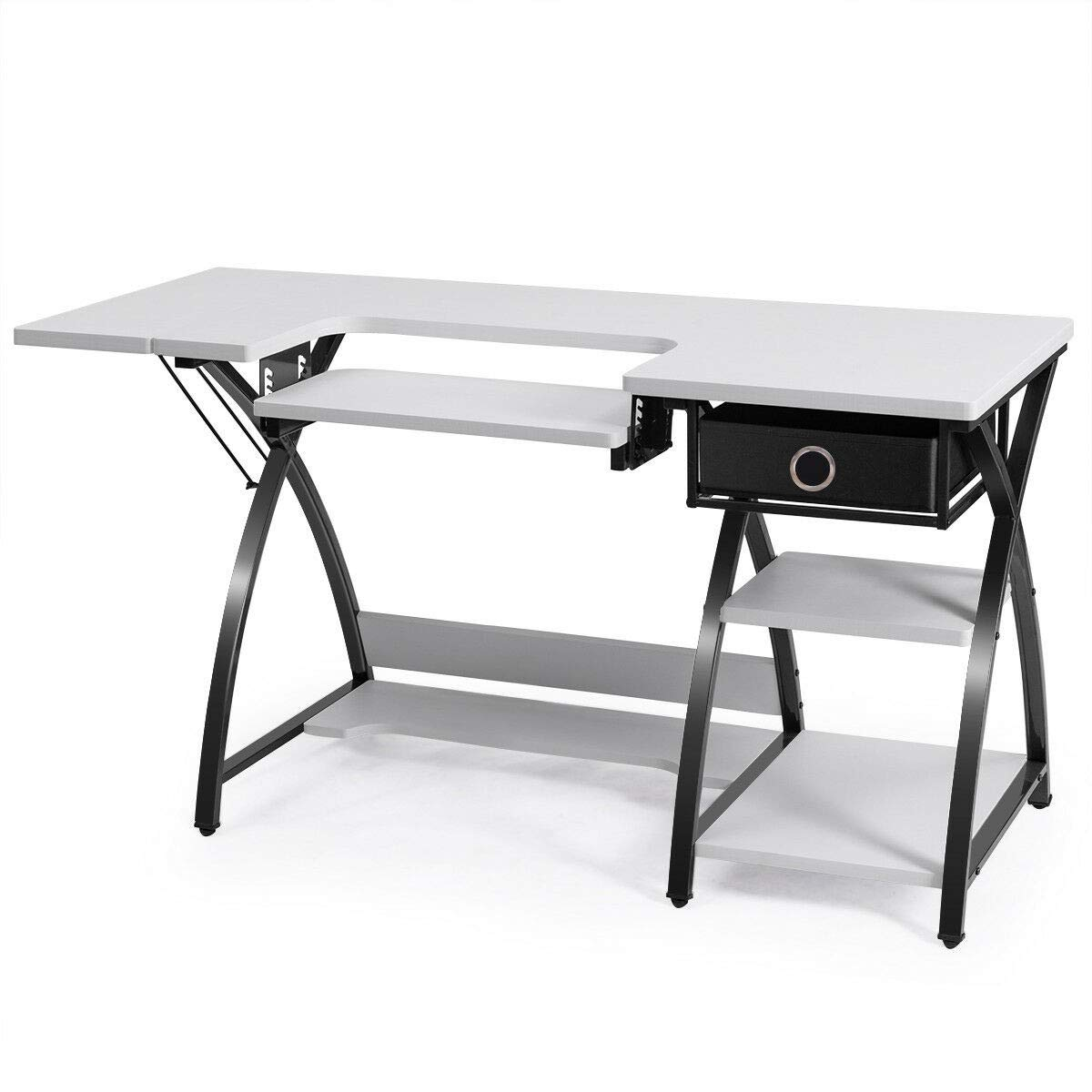 LHONE Multipurpose Sewing Desk Craft Sewing Table Folding Armoire Storage Computer Desk with Drawer & Shleves