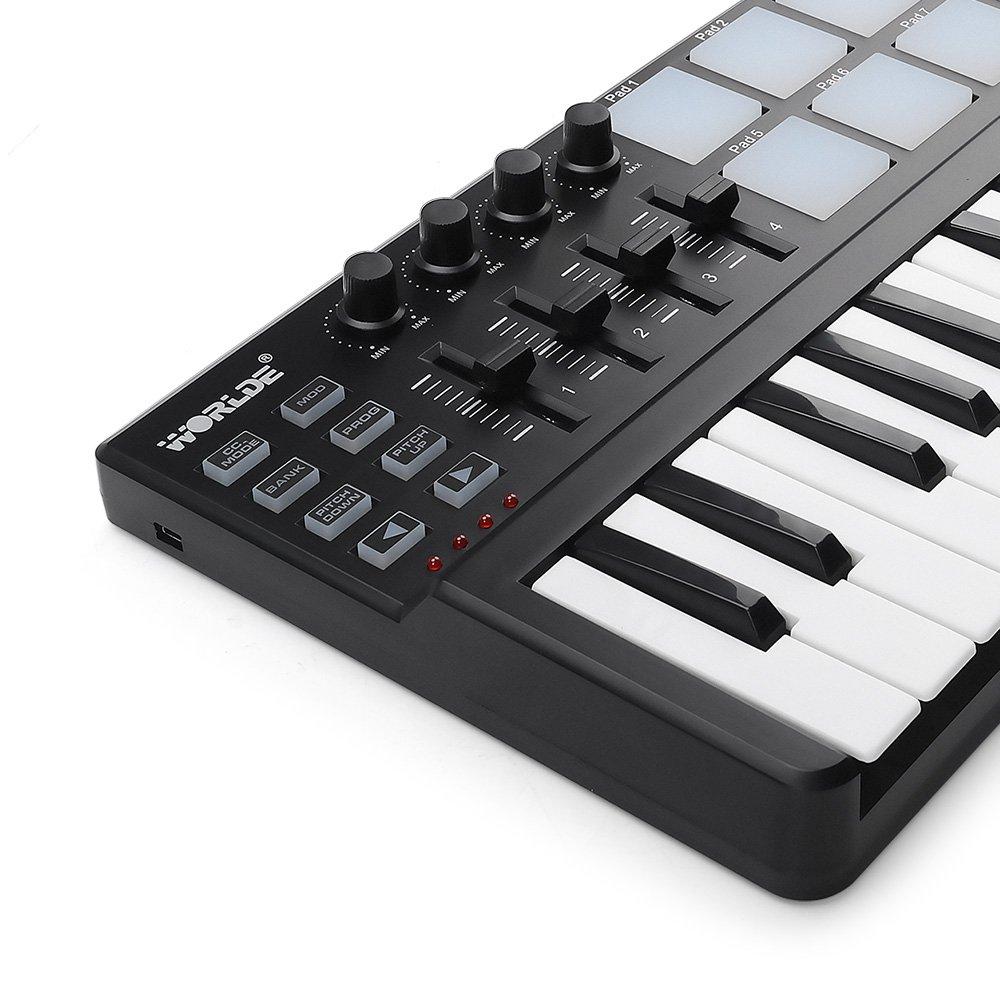 MIDI Keyboard 25 Keys, Worlde Panda MINI II USB Keyboard MIDI with 8 RGB Backllit Drum Pads, 4 Sliders and 4 Knobs by Vangoa (Image #5)