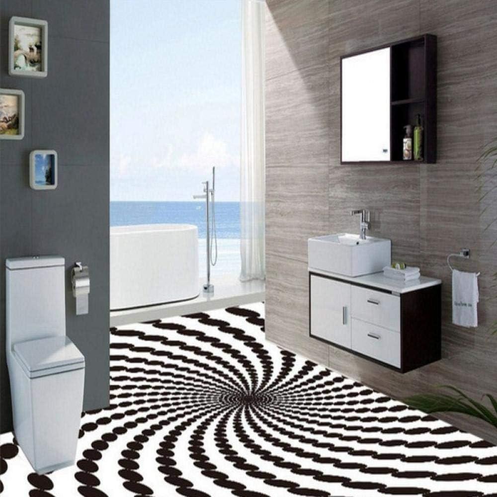 Arte Personalizado En Blanco Y Negro Redondo Whirlpool Mural Sala De Estar Hotel Hall Cuarto De Baño Papel Autoadhesivo Piso