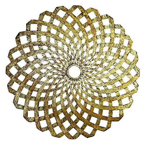 Mandala Round Open Gold Ceiling Medallion | Chandelier Mount Spiral