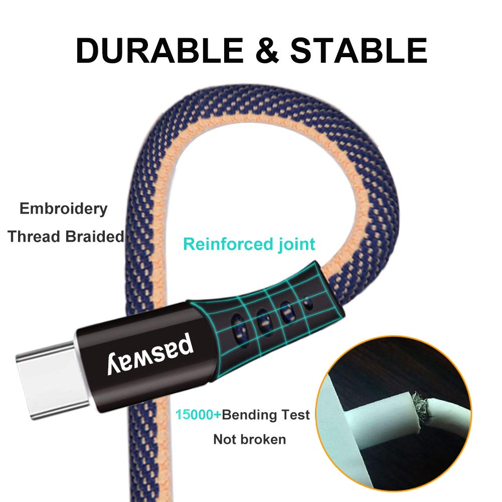 Type C Cable Rpuomtz 3 Pack (0.8 FT + 3 FT + 6 FT) Denim Braided USB C to USB A Fast Charging & Syncing Cable
