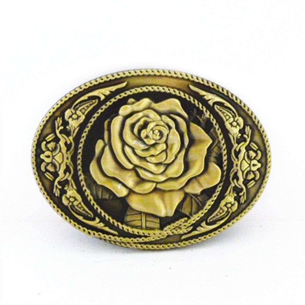 Bronze Rose Flower Western Oval Belt Buckle changsheng