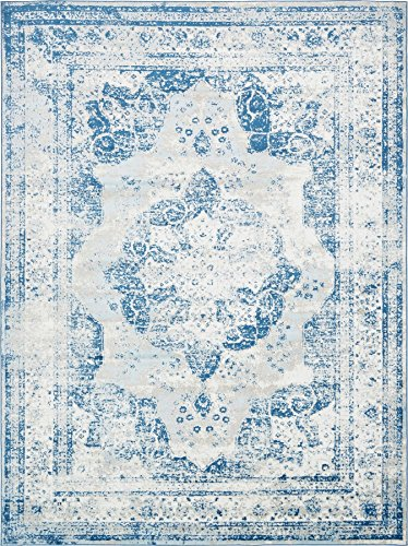 - Traditional Persian Vintage Design Rug Blue Rug 8' 11 x 12' FT (366cm x 274cm) Sofia Area Rug Inspired Overdyed Distressed Fancy
