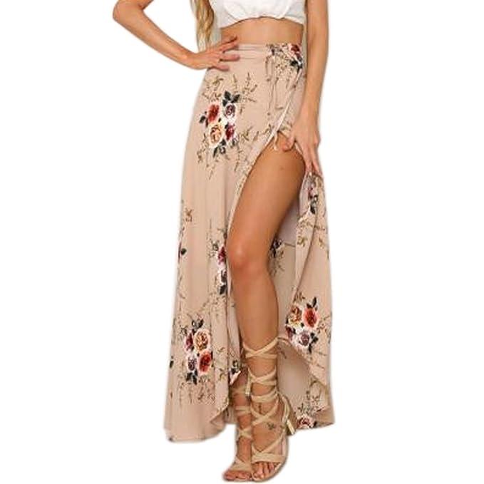 BienBien Mujer Falda Boheme Tour de Talla elástico Vintage Maxi Falda de Playa Larga (Muselina Jupon en Tul Plisada Elegante Retro Vestido Sexy Ete Casual ...