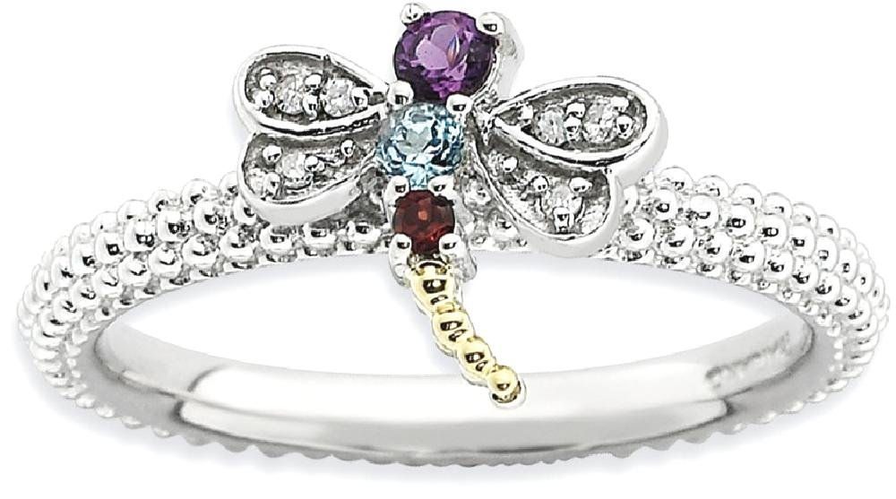 ICE CARATS 925 Sterling Silver 14k Gemstone Diamond Dragonfly Band Ring Size 7.00 Stackable Birthstone January Garnet February Amethyst December Blue Topaz Multiple Fine Jewelry Gift For Women Heart