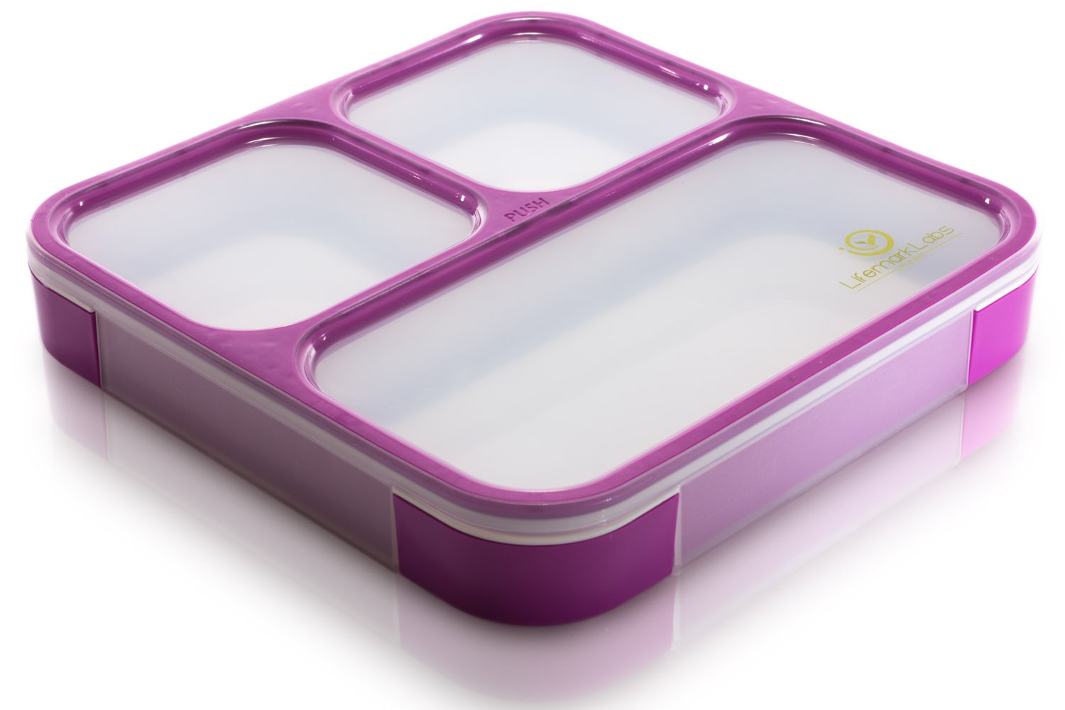 Bento Lunch Box by Lifemark Labs - Stylish Leakproof Microwavable Lunch Kit with 3 Compartments - For Kids & Adults - 100% Food Safe Design - Easy Portion Control - This Clever Container is Dishwasher Friendly - Healthy Eating Starts Now! LL-BentoBox