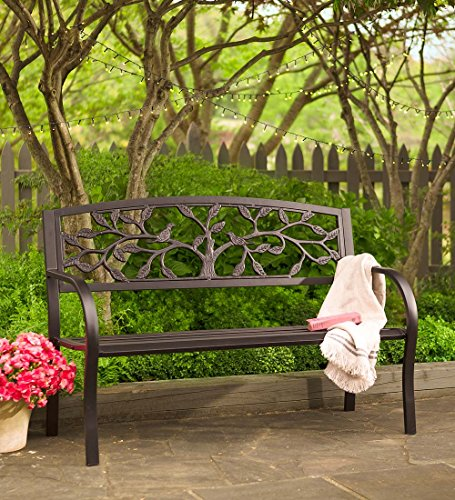 Plow & Hearth Tree of Life Outdoor Metal Garden Bench – 50 L x 21 W x 33.6 H For Sale