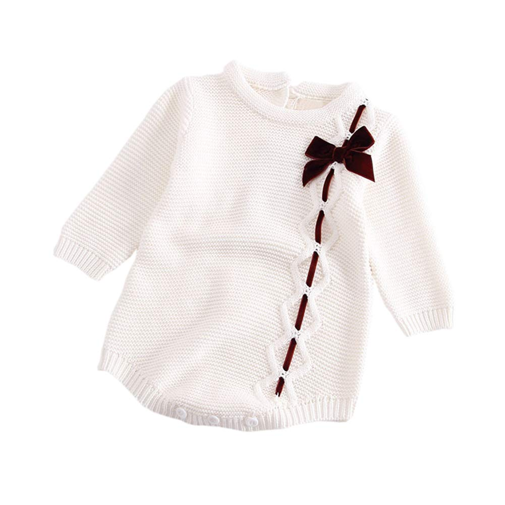 Hwafan Baby Girls Princess Knitted Long Sleeve Bowknot Sweater Rompers Jumpsuit