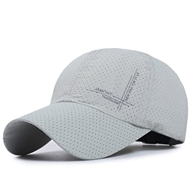 57abdd19e1eb1 Summer Mens Baseball Cap - Quick Drying Mesh Golf Sun Hats -Outdoor Sports  Fishing Visor Hat Adjustable Plain Caps (Gray)  Amazon.co.uk  Clothing