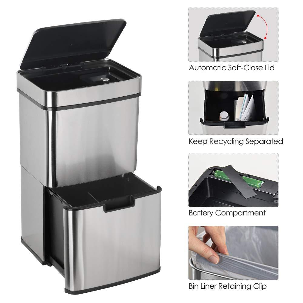 LENTIA/Cubo de Basura/con Sensor Cubo Basura de Infrarrojos para La Cocina y La Familia 65L,Tama/ño de 42 x 31.5 x 74.5CM Acero Inoxidable de 316
