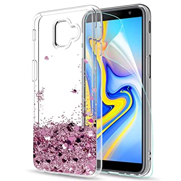 LeYi Compatible Funda con Samsung Galaxy J6 Plus 2018 Silicona Purpurina Carcasa con HD Protectores de Pantalla,Transparente Cristal Bumper Telefono ...