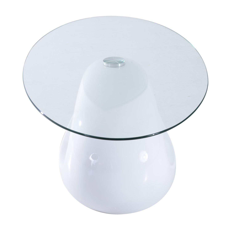 "Amazon Hom 43"" Oval High Gloss Glass Coffee Table White"